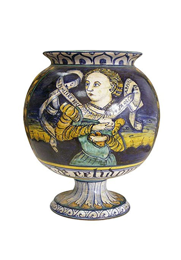 Simonetti Globular vase with foot hand painted in artistic ceramic