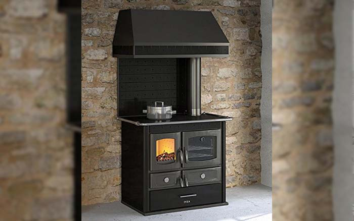 Black wood-burning stove with hood
