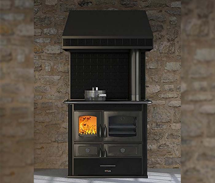 Thermo stove economic wood-burning stove – black color with hood