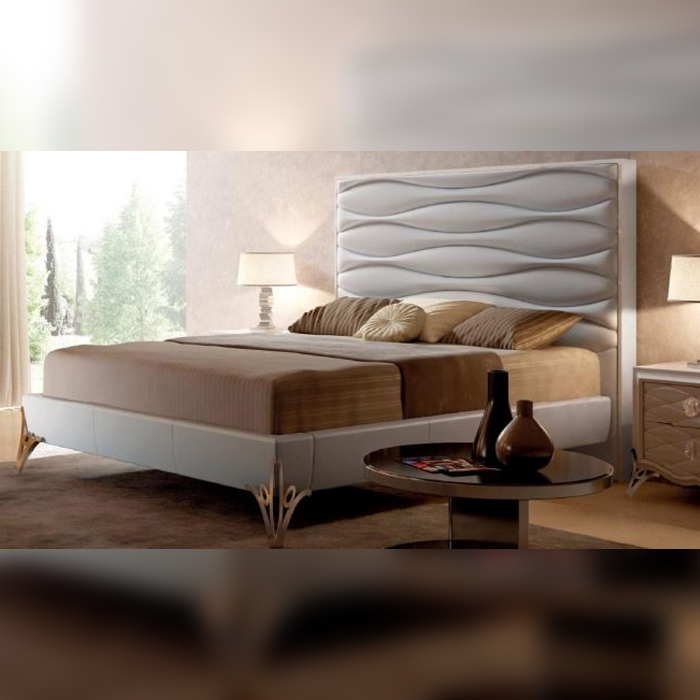 Double bed with leather frame, wave effect, dove gray color