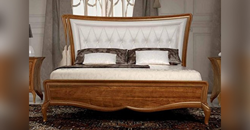 Witched double bed in white leather, dark wood structure