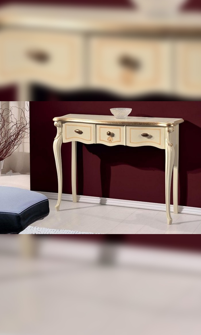 Console – entrance table, 3 drawers, ivory color, gold decorations