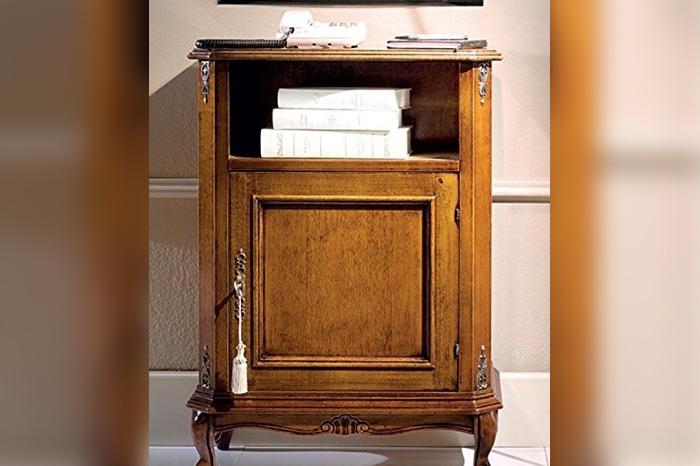 Telephone holder 1 door 1 compartment, dark wood color
