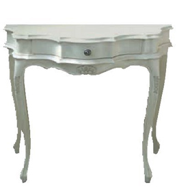 White lacquered walnut shaped console Classic style decorations – Antique walnut wood