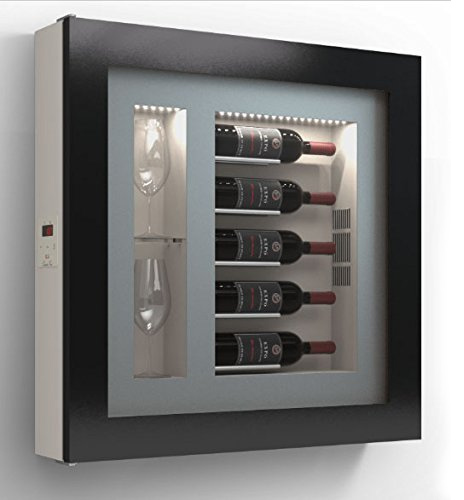 Wine picture – Refrigerated display for five horizontal bottles and two horizontal side glasses