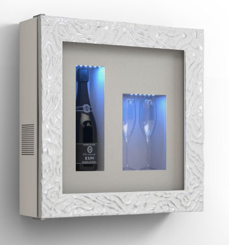 Wine picture – Refrigerated display for one bottle and neutral compartment for 2 glasses-new