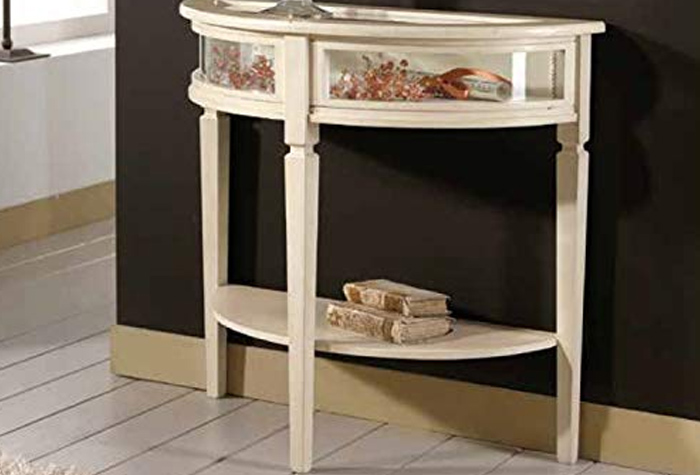 Console with shelf, ivory color