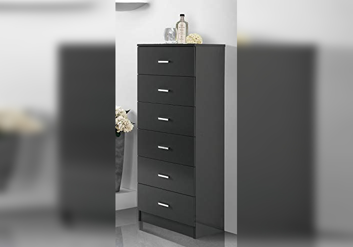 Drawer cabinet for bathrooms with 6 drawers – glossy anthracite gray finish with chrome handles