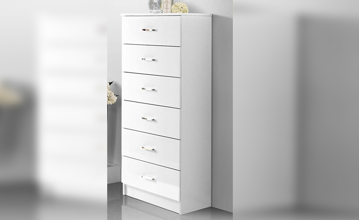 Drawer cabinet for bathrooms with 6 drawers – white finish with chrome handles