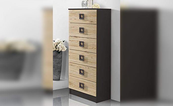 Drawer cabinet for bathrooms with 6 drawers – wood finish with matte black handles