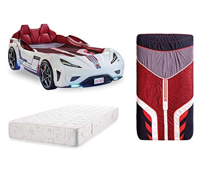 Race car bed White bedroom for boy