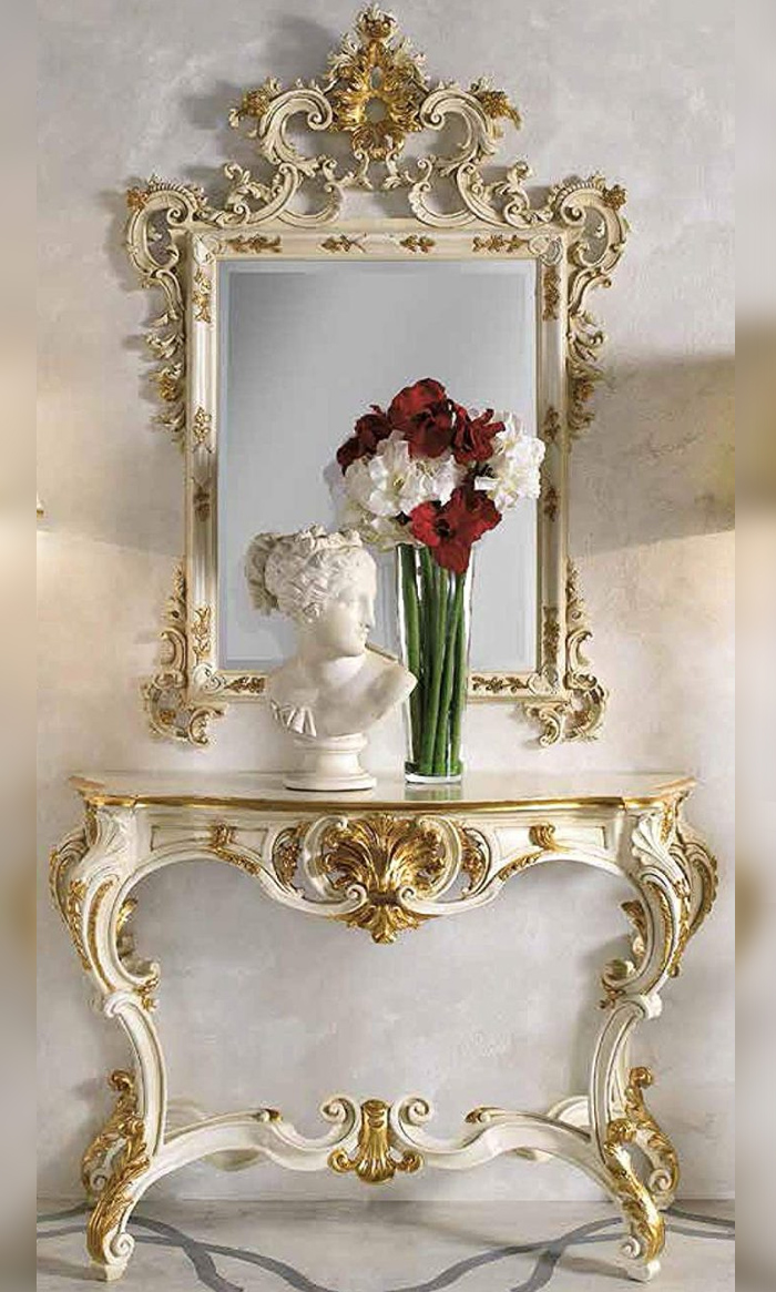 Console and mirror Entrance in Gold Leaf – Made in Italy