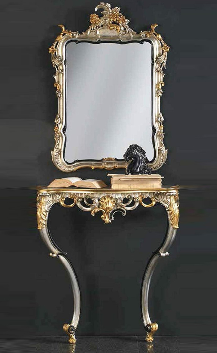 console and mirror Entrance in Gold and Silver Leaf – Made in Italy