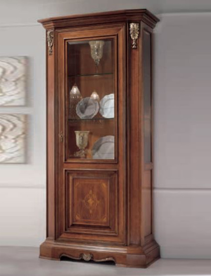 Classic style display cabinet with silver decoration