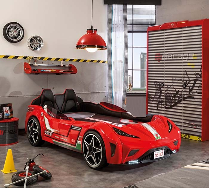 Complete bedroom for boy or child in car and racing circuit style