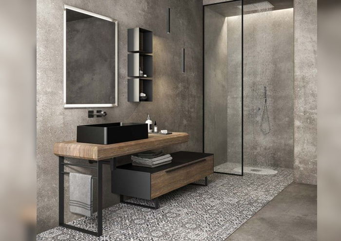 Modern bathroom cabinet with basin on the floor