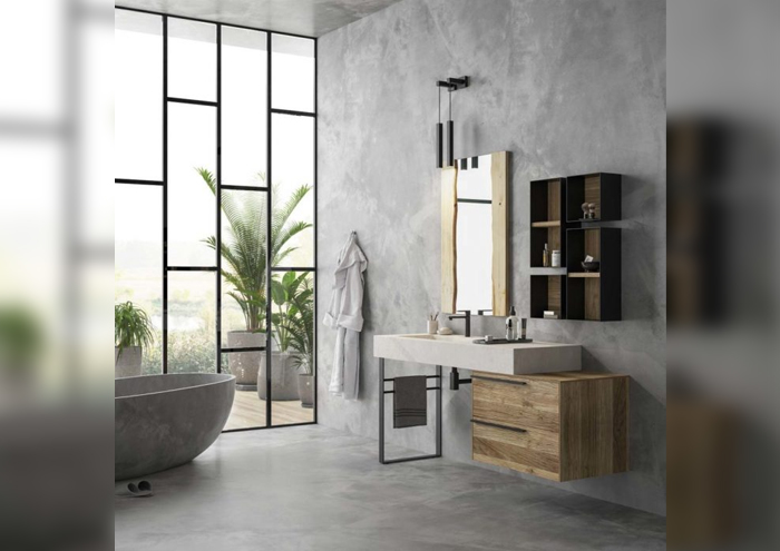 Modern bathroom cabinet with basin on the ground