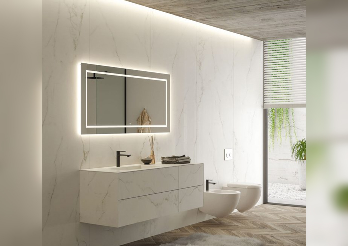 Modern bathroom cabinet with washbasin on the wall