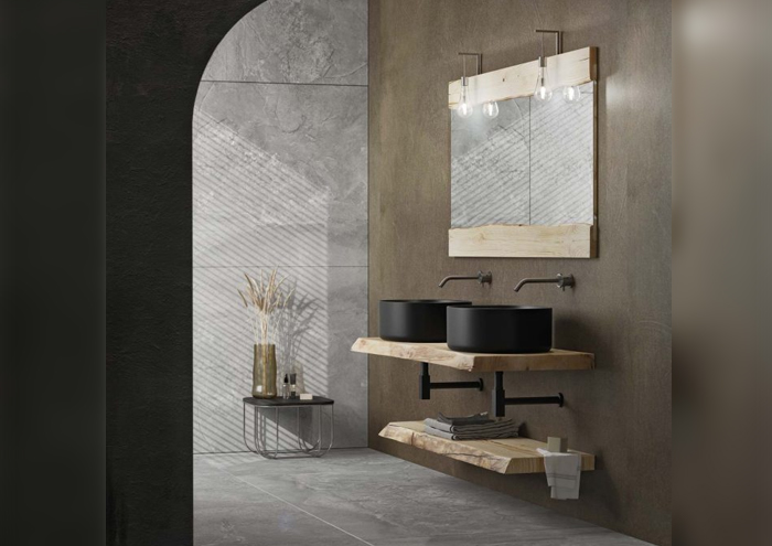Modern bathroom cabinets with washbasin on the wall