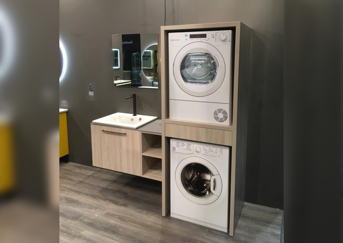 Basin cabinet washing machine door dryer door mirror and basin functional bathroom assembly