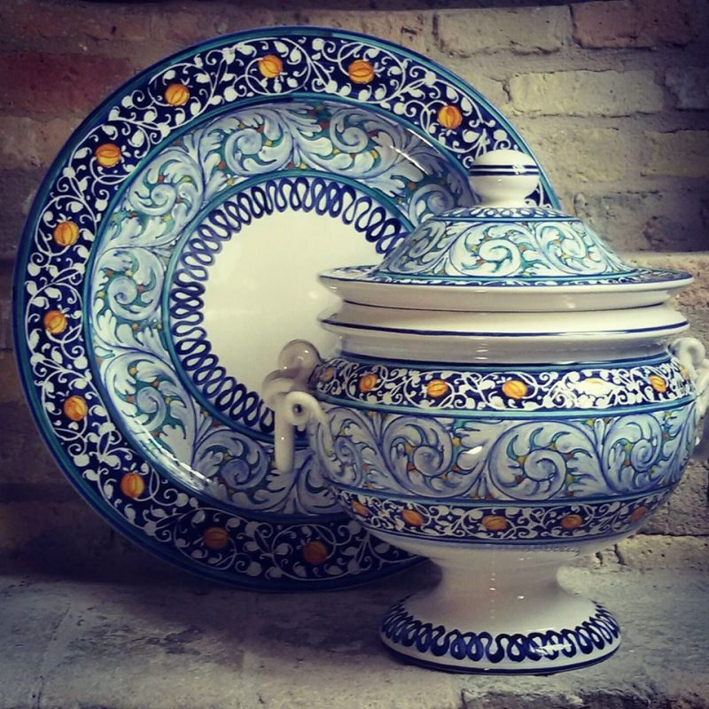 Classic hand painted ceramic soup tureen