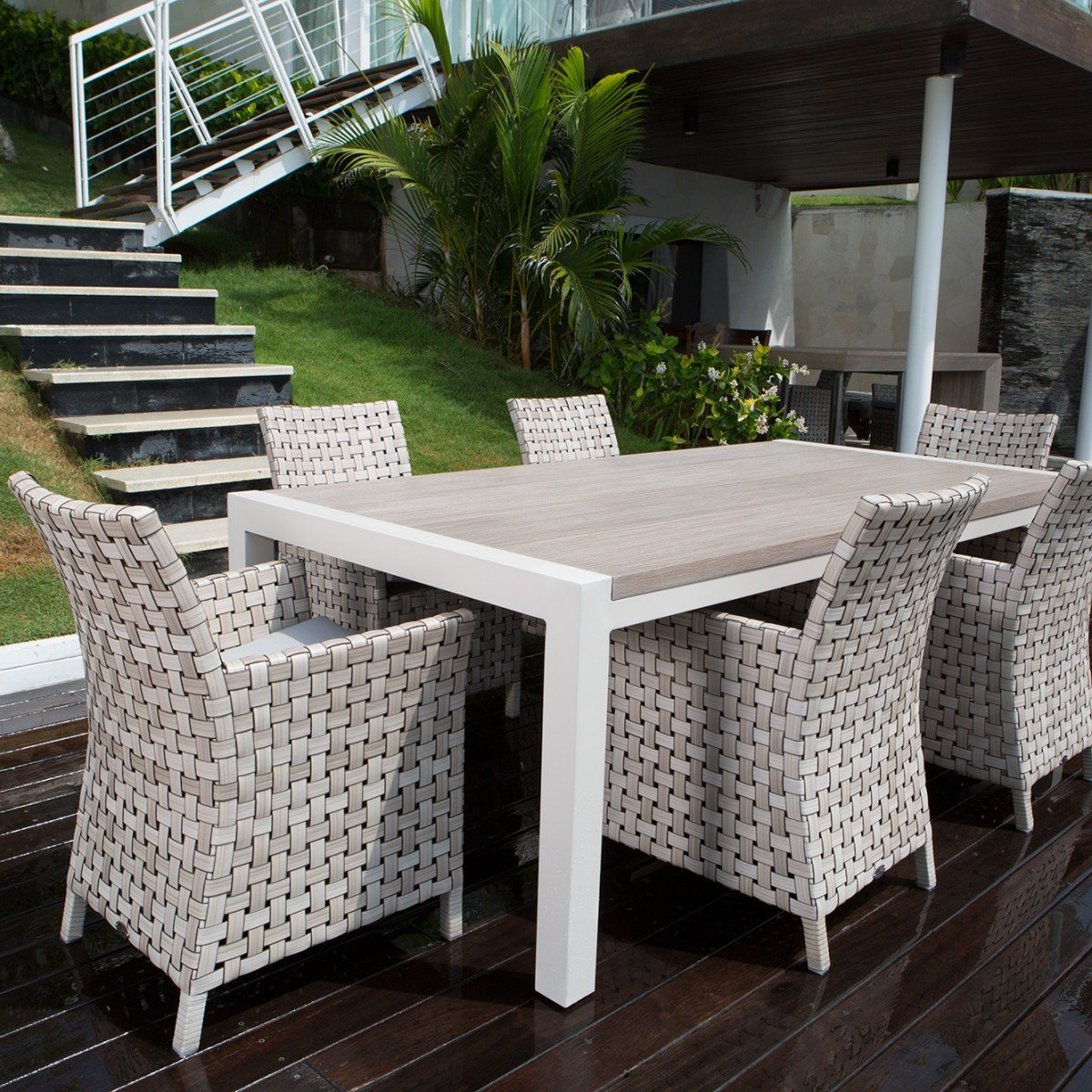 6 Seater Garden Dining Set Consisting Of 6 Dining Chairs With Armrests Dafne Italian Design