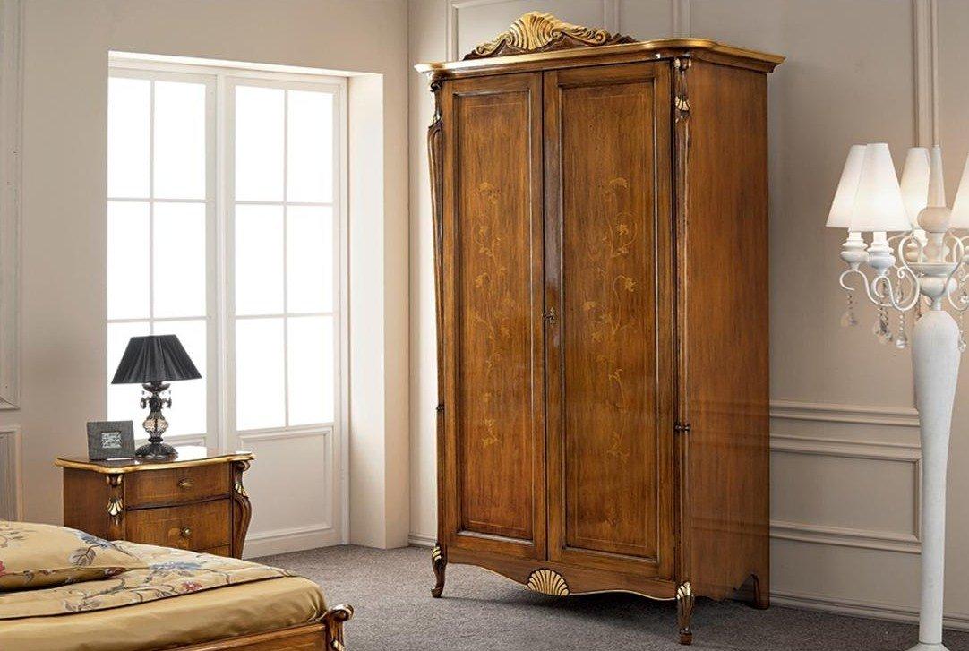 dafnedesign – armadio, 2 ante, colore legno scuro, decorazioni