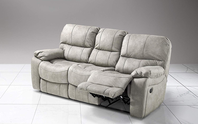 Dafnedesign.com - Divano relax 3 posti - Colore: grigio chiaro ...