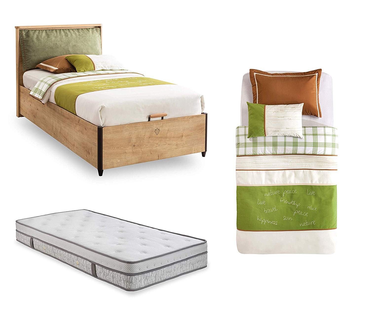 Complete Single Bedroom Bed For Boy Or Child Headboard With Upholstered Fabric Cushion Dafne Italian Design