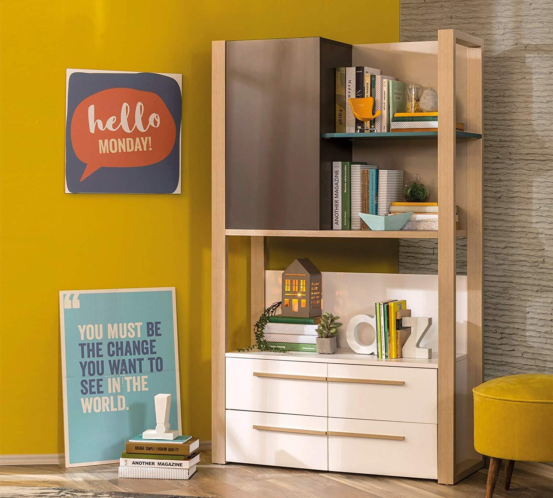 Dafnedesign.com - Libreria da cameretta per ragazzo o bambino - Libreria  con cassetti e ripiani - - stile moderno ed elegante - Dimensioni: 100 cm H  ...