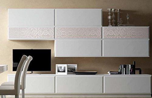 Dafnedesign.com – Parete componibile per soggiorno, laccata bianca ...