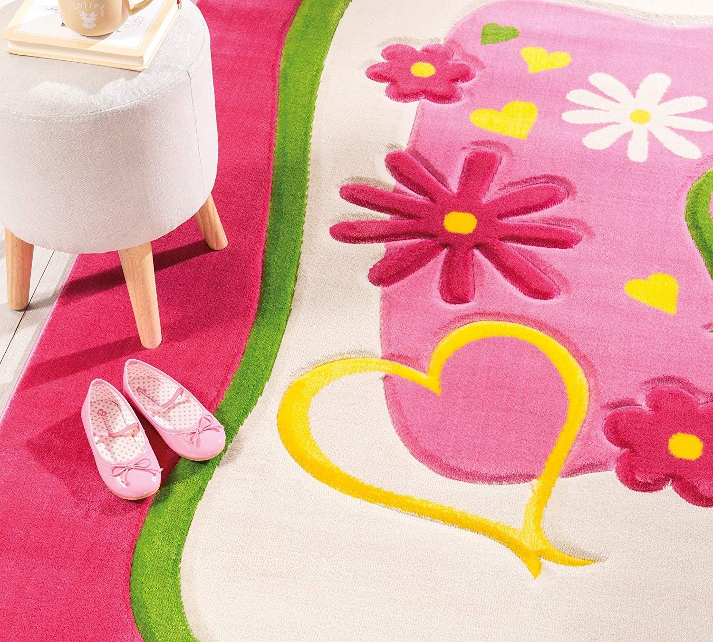 Tappeto per Cameretta per ragazza o bambina - Un Tappeto rosa decorato con  cuori e fiori - Dimensioni Tappeto : Width: 133 cm Height: 1 cm Depth: 190  ...