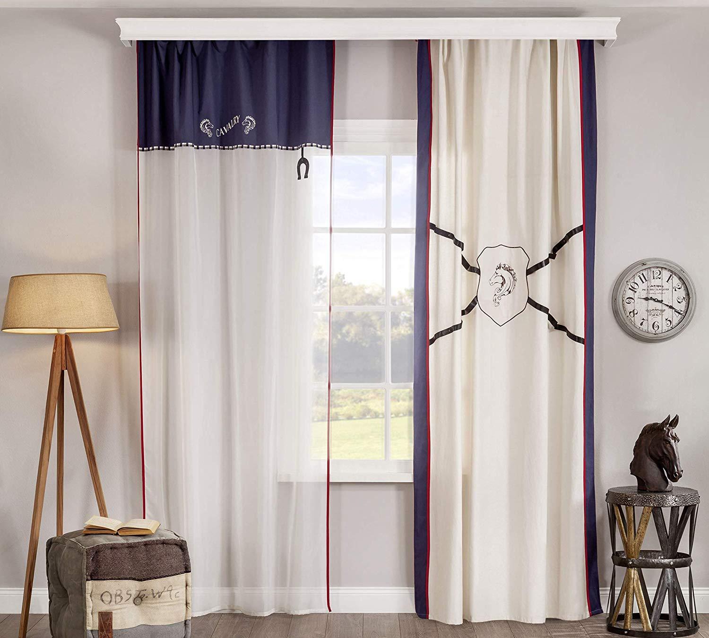 Tende per Cameretta per ragazzo o bambino - Adatta ad una camera da letto  per ragazzo - Tenda a due cadute trasparente con decorazioni eleganti in ...